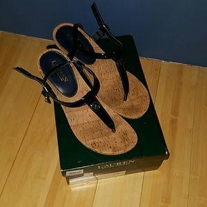 Navy Ralph Lauren push toe cork wedge heels